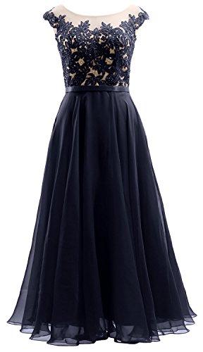 MACloth Cap Sleeves Illusion Midi Prom Dress Lace Chiffon Wedding ...
