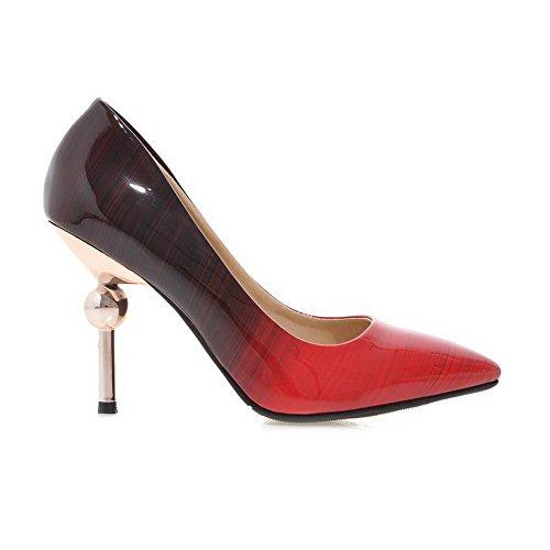 Balamasa Mesdames Couleur Correspondant Fond Épais Talon Plateforme Unique En Cuir Verni Pompes-chaussures Noir