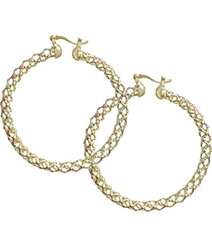 Big Spiral-Mesh Hoop Yellow-Rose-White Three-Tone Large 14K Gold-filled Earrings (Spiral Earrings Filled Gold)