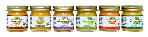 Spiced Ghee Sampler Pack 6x1.1 Oz - Pure Indian Foods(R) Brand - Grassfed & Certified Organic by Pure Indian Foods