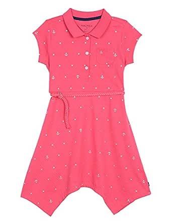 Nautica Girls' Little Short Sleeve Polo Dress, Bright Pink Anchor, 4