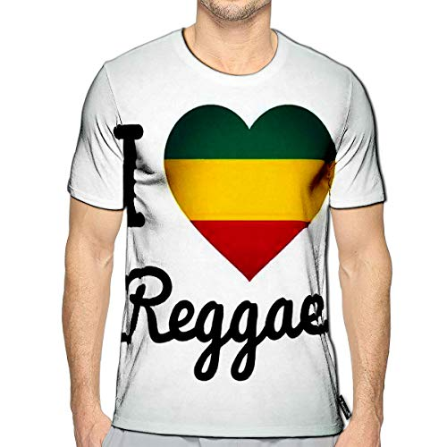 T-Shirt 3D Printed I Love Reggae Heart Jamaican Music Logo Design African Flag P (Special Cigars Jamaican)