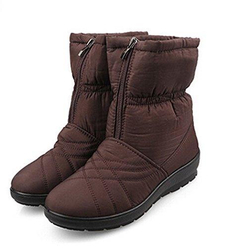 Shoes Cube Jeff Cozy Women Waterproof Flexible Snow Warm Boots Boots Winter Tribble Plus Inside Size Brown Fur ZFqXZf