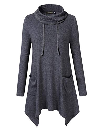 Glorystar Women's Long Sleeve Cowl Neck Asymmetrical Hem Tunic Tops Sweatshirts with Pockets Gray ()