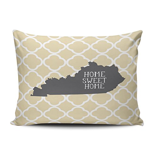 SALLEING Custom Fancy Plush Yellow Home Sweet Home Kentucky Decorative Pillowcase Pillowslip Throw Pillow Case Cover Zippered One Side Printed 12x16 Inches