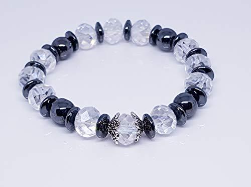 Hematite Rondelle Beads/Hematite Stone Rondelle Beads, Gray/Antique Silver Tibetan Style Flower 6 Petal Bead Caps/Crystal Rondelles Bracelet ()