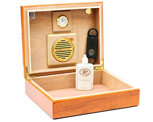 BCIC Cigar - 25 Cigar, Latin-American Made Desktop Humidor - Gloss Cedar by BCIC Cigar