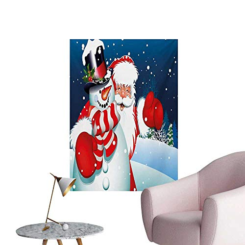 Anzhutwelve Christmas Wallpaper Smiling Santa Claus Hugging Snowman in Cartoon Style Winter Hills Fir TreesBlue Red White W24 xL36 Funny Poster (Snowman Jewels Christmas)