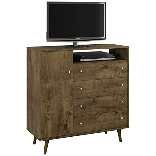 Manhattan Comfort 210BMC9 Liberty Modern Bedroom Armoire and Tv Stand, Rustic Brown