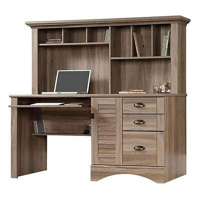 Computer Desk Wood Writing Desk Table Wooden Hutch Salt Oak Home Office Study Cabinet Gaming Desk Harbor View Workstation PC Home Office Executive ()
