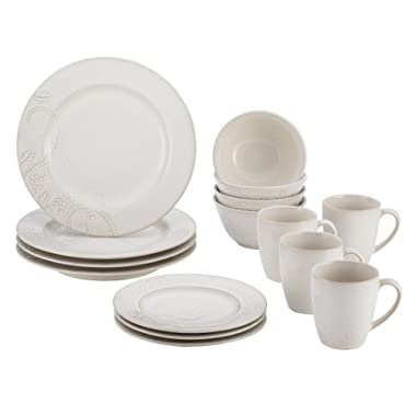 BonJour Paisley Vine 16-Piece Stoneware Dinnerware Set, Cream