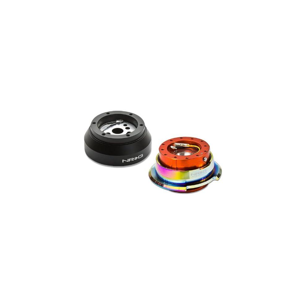 NRG SRK 170H+280OR MC, NRG Innovations Steering Wheel 6 Hole Aluminum Ball Bearing Short Hub Adapter with Gen 2.8 Neo Chrome Orange Quick Release SRK 170H