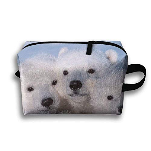 kjaoi Cute Baby Polar Bears Travel Cosmetic Makeup Storage Pouch Bag -