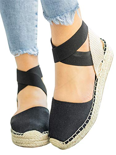 Kathemoi Womens Espadrille Wedge Sandals Closed Toe Slingback Strappy Mid Heel Platform Sandals