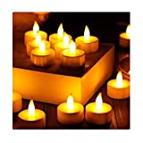 LIEJIE 6pc LED Tea Light Candles Realistic Battery-Powered Flameless Candles Light Cabinet Wardrobe Drawer Lamp Bulb Flood Light Waterproof Outdoor Landscape Lamp Path Way Kitchen (Yellow)