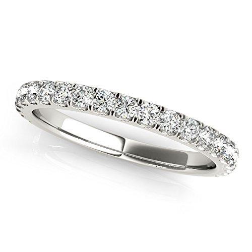 1/2 Carat Diamond Wedding Band in 14K White gold. 1/2 Carat Wedding Band Ring.