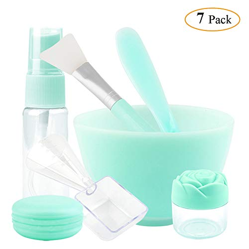 Thriller9 Silicon Mask Bowl Tool Set Facemask Mixing Kit Mask Bowl Mask Brush Mixing Stick Spatula Measuring Cup Spray Bottle Cream Case Soaking Box Face Care Green Pack of 7