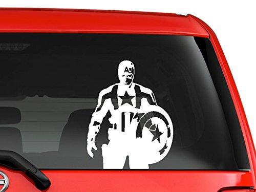 Price comparison product image Captain America Marvel superhero cartoon artwork animation halloween car truck laptop macbook decal sticker 6 inches white