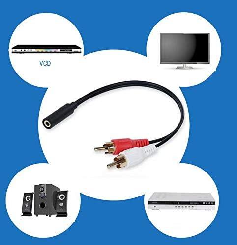 safeinu 1個の3.5ステレオオーディオケーブルメスから2個のロータスビデオライン2 RCAオスデュアルパラレルライン 1pcs