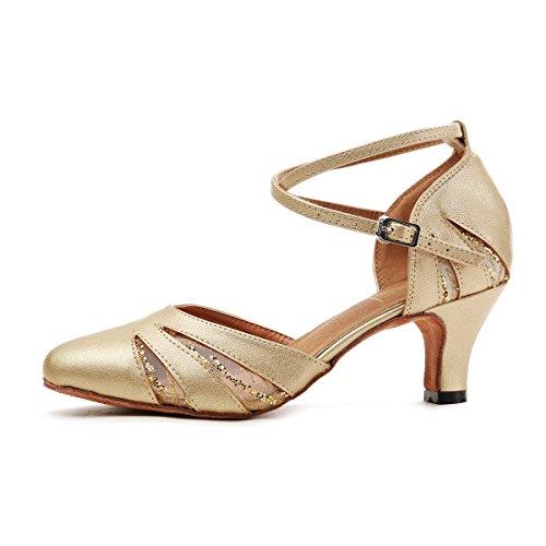 Minishion Gl261 Femmes Bout Fermé Maille Synthétique Salsa Chaussures De Danse Latine Party Pompes Or-6cm Talon