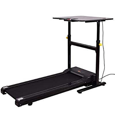 Goplus Treadmill Desk Standing Walking Treadmill Electric Machine W/Tabletop Height Adjustable Treadmill Workstation Perfect for Office & Home