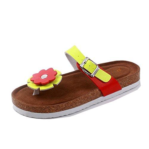 Mujer sandalias planas de la playa Zapatos Peep-dedo del pie Flip Flop Chanclas Chancletas 1