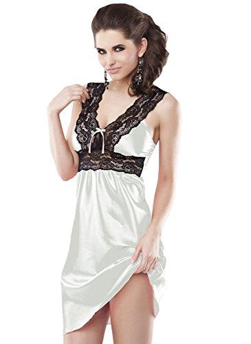 DKaren Women's Luxury Satin Chemise Nightdress Nightgown - Maya XXL Light Ecru