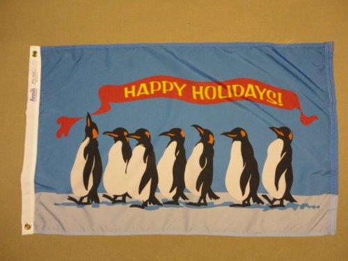 Happy Holidays! Penguins Indoor Outdoor Seasonal Nylon Flag Grommets 2