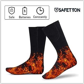 SAFEPRINT Tyon Calcetines con calefactor para hombre y mujer, calcetines térmicos con batería algodón, soporte calentador Calcetines para ...