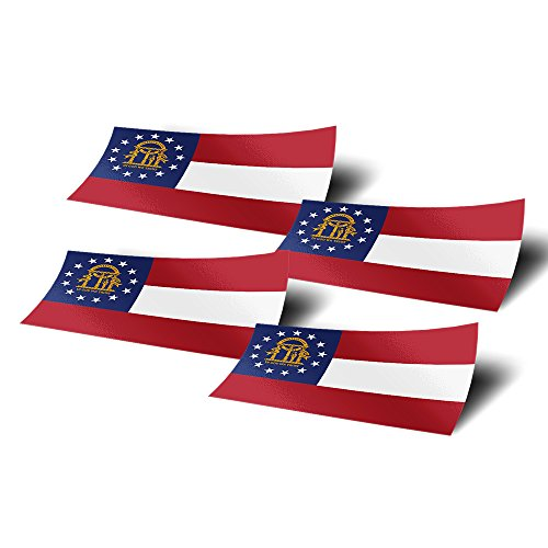 Georgia GA 4 Pack of 4 Inch Wide State Flag Stickers Decal for Window Laptop Computer Vinyl Car Bumper Scrapbook 4