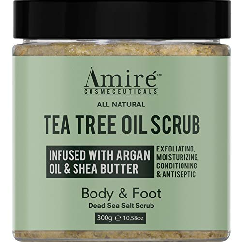Amire Tea Tree Oil Exfoliating Body and Foot Scrub with Dead Sea Salt, Great for Acne, Dandruff, Stinky Feet, Infused…
