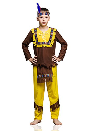 Apache Warrior Costume (Kids Boys Indian Warrior Costume Native American Outfits Tribal Chief Dress Up (3-6 years, Brown/Yellow))