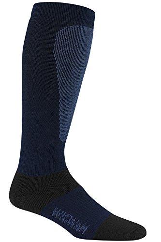 Wigwam Men's Snow Sirocco Knee-High Performance Wool Ski Socks, Navy,Sock size : Large ( shoe Size : Men's 9-12 , Women's 10-13)
