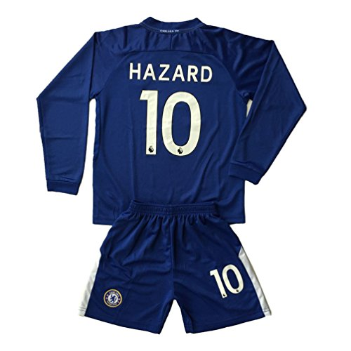 huge discount 33bb3 2357a tehaew youthjs Long Sleeve Chelsea #10 Hazard Home Blue 17 ...