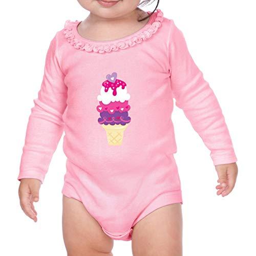 Sweet Valentine Ice Cream Long Sleeve Scoop Neck Girl Sunflower Cotton Baby Ruffle Bodysuit - Soft Pink, 6 ()