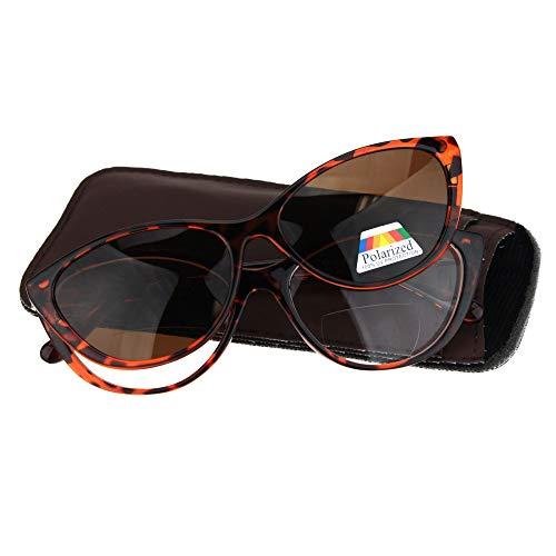 Cateye Magnetic Clip On Polarized Sunglasses On Bifocal Reading Glasses Tortoise +1.0 (Glasses 137)
