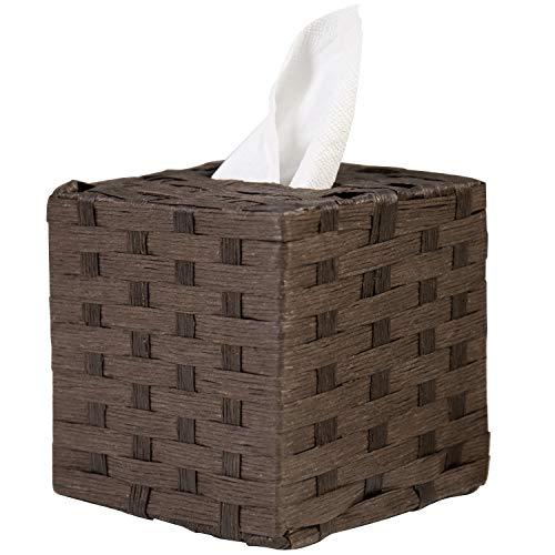 MyGift Dark Brown Woven Seagrass Square Tissue Box Cover, Napkin Dispenser Holder