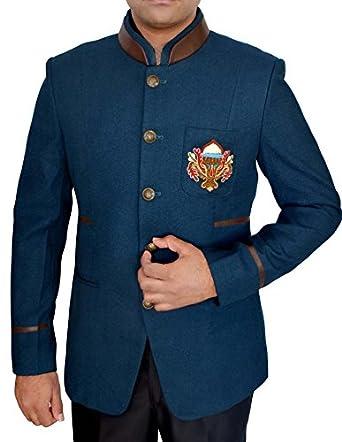 Inmonarch Mens Steel Blue Jodhpuri Suit Attractive Logo Design Jo396