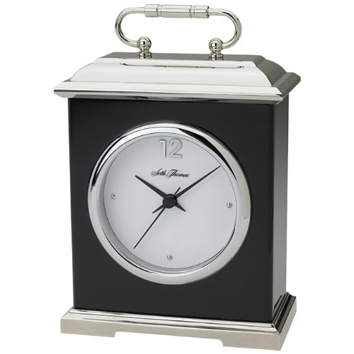 Seth Thomas Franklin Black Piano Finish Wood and Silver Tone Alloy Case with Silver Dial Rectangular Carriage Desk and Mantel Clock ()