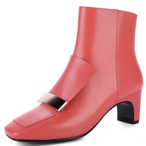 Ankle Red Toe Chunky Handmade Nine Women's Fashion Genuine Square Seven Booties Heel Leather Business ZSOPq