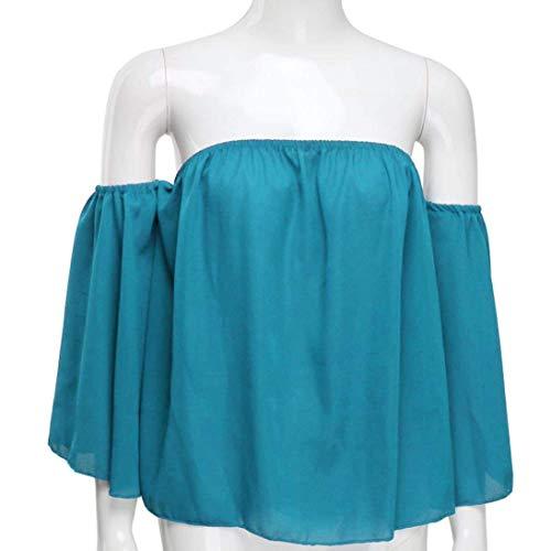 Et Manche Printemps Manches paules Longues Blusen Mince Mode lastique lgant breal Uni Bandeau Himmelblau Nues Top Chemise Top Haut Femme Nu L'Air Dos Permable xPYqwv
