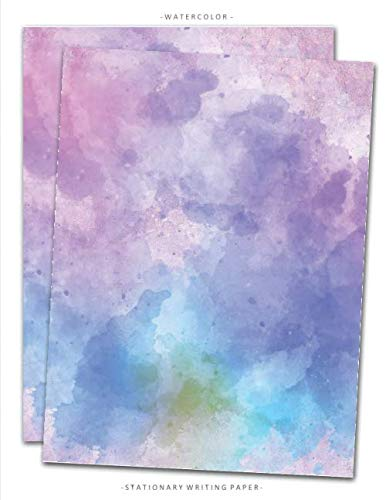 Watercolor Stationary Writing Paper: Letterhead Paper, 25 Sheets, Multicolor Art Print Themed for Writing, Flyers, Copying, Crafting, Invitations, ... Supplies, 8.5 x 11 Inch Vol.1 (Stationery)