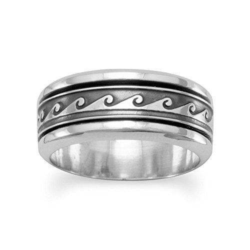 Oxidized Sterling Silver Spin Ring With Wave Design The Band Is 8.5mm - Size (Solid Silver Band Spin Ring)