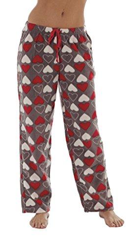 Pants Fleece Heart Pajama (Ladies Fleece Lounge Pants / Pyjama Bottoms ~ Unicorn, Owl, Penguin, Fox. (Large, Hearts))