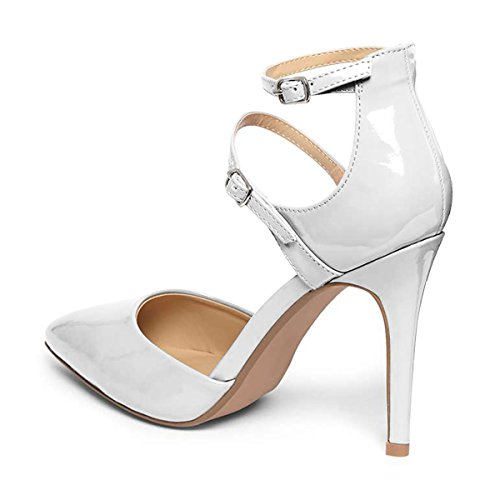 FSJ Women Classy Pointy Toe Stiletto Heels DOrsay Pumps Double Ankle Straps Party Shoes Size 4-15 US White 6AcKIyo