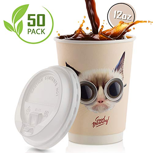 Disposable Coffee Cups With Leak-Proof Lids 12 Oz To-Go, 50-Pack Hot Paper Insulated Double Wall Cup Quality Secure-Locked Lid. Cute & Funny Cat Design, Cold/Hot Beverage Party Travel Cups. (Funny Pics Of Cats)