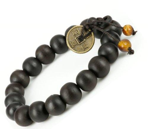 Feng Shui Coin with 2 tiger eye stone Tibetan Buddha Prayer Mala Black Wood Bracelet - W026 - 2 pcs by Luos...