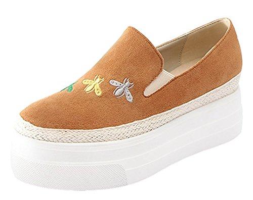 Show-up Dames Comfortabele Ronde Neus Platform Slip Op Sneakers Bruin