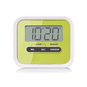 Digital LCD Kitchen Timer, Count UP Down Countdown Timer with Magnetic Clip and Stand for Cooking, Study, Homework, Facial Mask, Sport Exercise, Max to 99 Minutes 59 Seconds, Green
