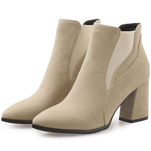 Women Ankle Beige Boots Coolcept On Fashion Pull UZSxHqdxw